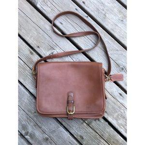 Coach leather crossbody messenger bag brown